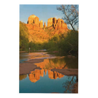 USA, Arizona. Cathedral Rock At Sunset Wood Wall Art