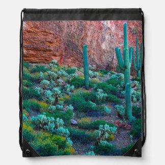 USA, Arizona. Desert Flora Drawstring Bag
