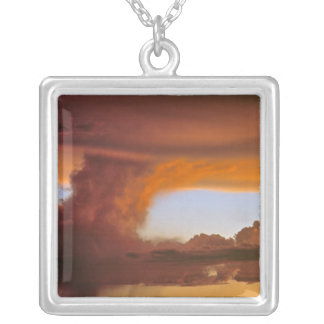 USA, Arizona, Grand Canyon NP. Sunset creates Silver Plated Necklace