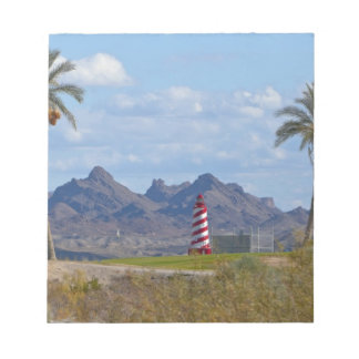 USA, Arizona, Lake Havasu City. Lighthouse next Notepad