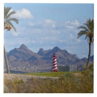 USA, Arizona, Lake Havasu City. Lighthouse next Tile