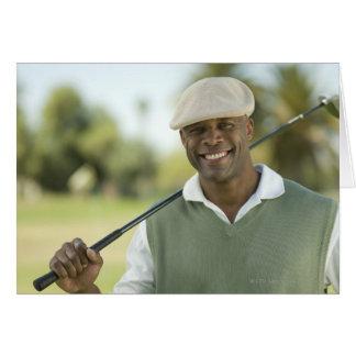 USA, Arizona, Scottsdale, Smiling man on golf Greeting Card