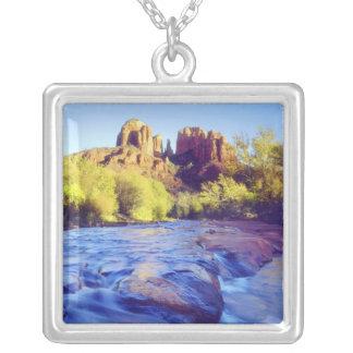 USA, Arizona, Sedona. Cathedral Rock reflecting 2 Silver Plated Necklace