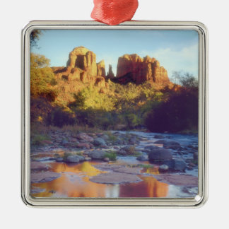 USA, Arizona, Sedona. Cathedral Rock reflecting Christmas Ornament