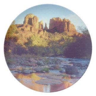 USA, Arizona, Sedona. Cathedral Rock reflecting Plate