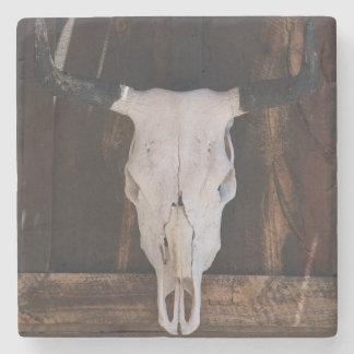 USA, Arizona. Skull On A Shop Wall Stone Coaster