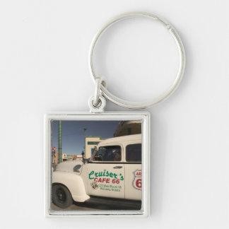 USA, Arizona, Williams: Cruisers Cafe 66 Old Silver-Colored Square Key Ring