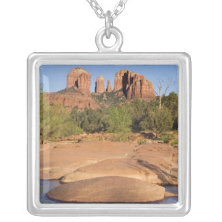 USA, AZ, Cathedral Rocks at Red Rock Crossing Silver Plated Necklace