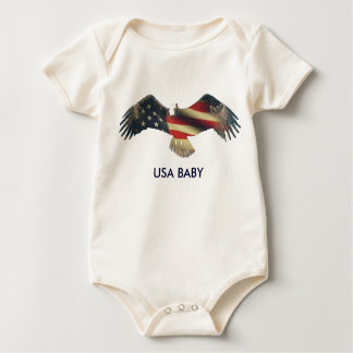 USA Baby with Bald Eagle flag fade Baby Bodysuit