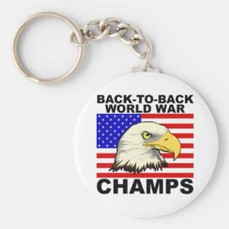 USA:  Back To Back World War Champs Basic Round Button Key Ring