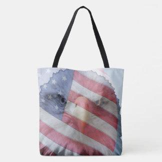 USA Bald Eagle Bird Flag Wildlife Animal Tote Bag
