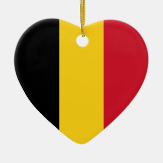 USA & Belgium Flag Heart Ornament Ceramic Heart Ornament