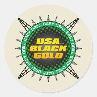 USA Black Gold Round Sticker
