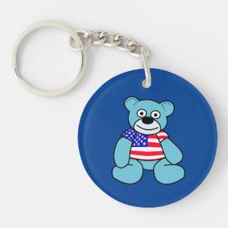 USA - Blue Teddy Bear Double-Sided Round Acrylic Key Ring