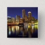 USA, Boston, city skyline at night (long 15 Cm Square Badge