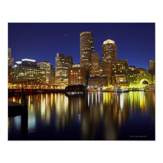 USA, Boston, city skyline at night (long Poster
