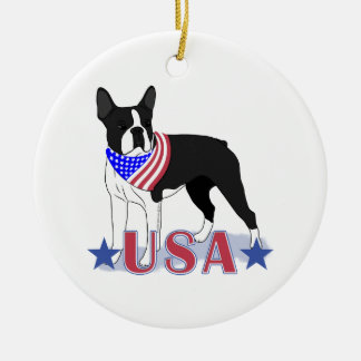 USA Boston Terrier Patriotic Dog Round Ceramic Decoration