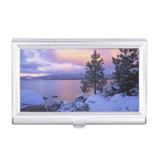 USA, California. A winter day at Lake Tahoe. Business Card Holder