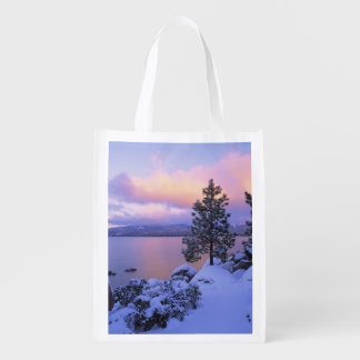 USA, California. A winter day at Lake Tahoe. Reusable Grocery Bag
