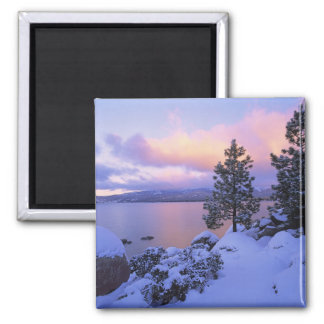 USA, California. A winter day at Lake Tahoe. Square Magnet