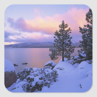 USA, California. A winter day at Lake Tahoe. Square Sticker