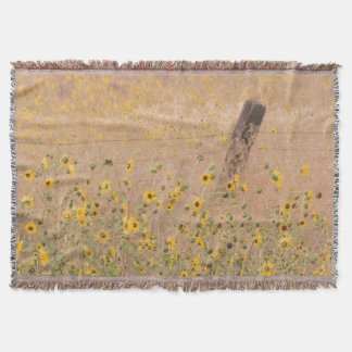 USA, California, Adin. Barbed-Wire Fence Throw Blanket