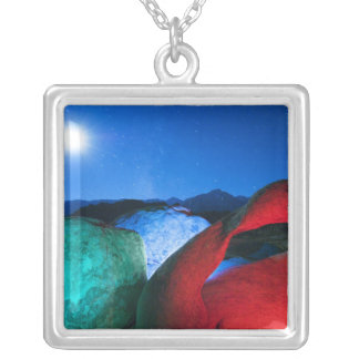 USA, California, Alabama Hills, Night photo of Silver Plated Necklace