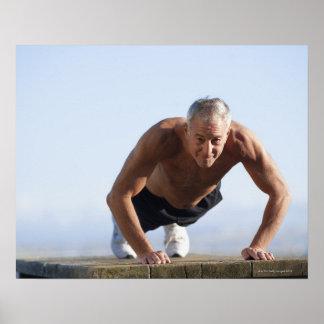 USA, California, Berkeley, Senior man exercising Print