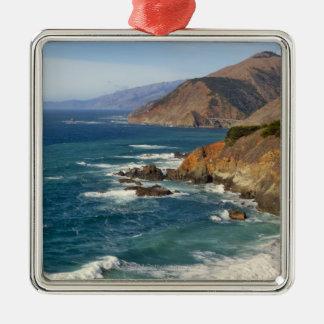 USA, California, Big Sur Coastline Silver-Colored Square Decoration