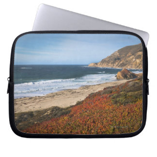 USA, California, Big Sur, Red plants by beach Laptop Sleeve