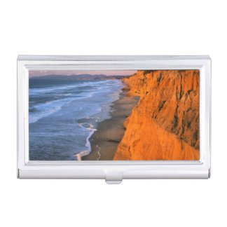 USA, California, Cliffs At Pescadero State Beach Business Card Holder