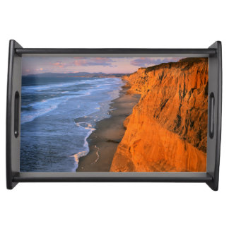 USA, California, Cliffs At Pescadero State Beach Serving Tray