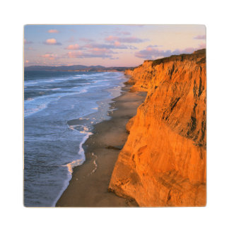 USA, California, Cliffs At Pescadero State Beach Wood Coaster