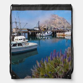 USA, California. Docked Boats At Morro Bay Drawstring Bag