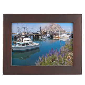 USA, California. Docked Boats At Morro Bay Keepsake Box