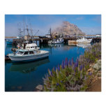 USA, California. Docked Boats At Morro Bay Poster