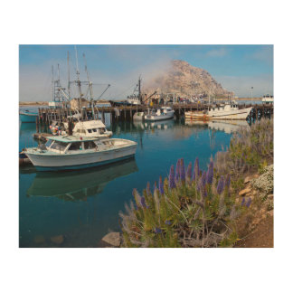 USA, California. Docked Boats At Morro Bay Wood Wall Decor