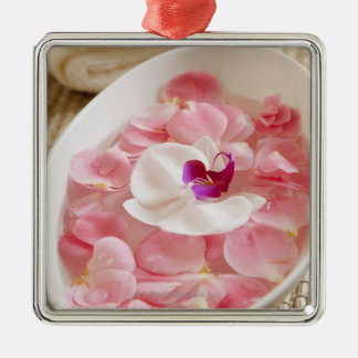 USA, California, Fairfax, Bowl of petals by Silver-Colored Square Decoration