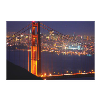 USA, California. Golden Gate Bridge At Night Stretched Canvas Print