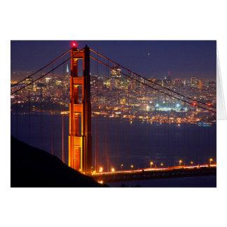 USA, California. Golden Gate Bridge At Night Card