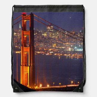 USA, California. Golden Gate Bridge At Night Drawstring Bag