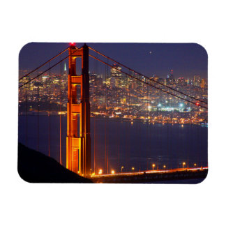 USA, California. Golden Gate Bridge At Night Magnet