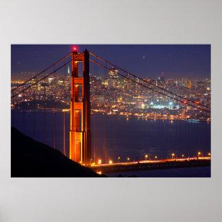 USA, California. Golden Gate Bridge At Night Poster