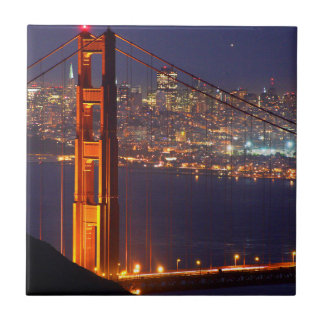 USA, California. Golden Gate Bridge At Night Tile