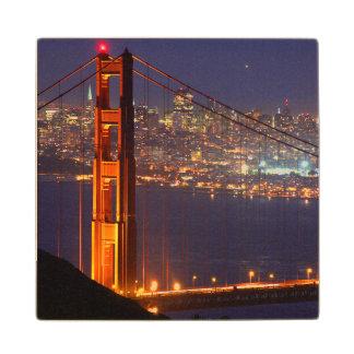 USA, California. Golden Gate Bridge At Night Wood Coaster