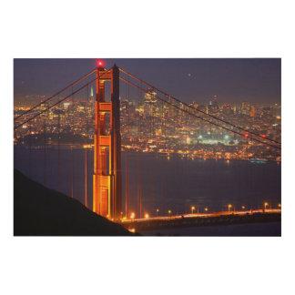 USA, California. Golden Gate Bridge At Night Wood Prints
