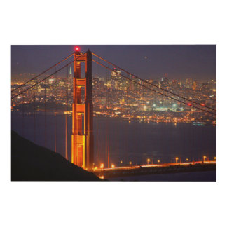 USA, California. Golden Gate Bridge At Night Wood Wall Decor