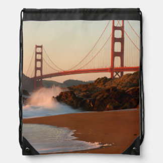 USA, California. Golden Gate Bridge View Drawstring Bag
