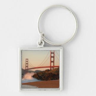 USA, California. Golden Gate Bridge View Silver-Colored Square Key Ring