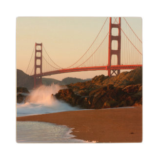 USA, California. Golden Gate Bridge View Wood Coaster